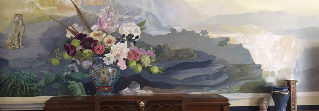 Mural of Flower Bouquet and Waterfall.